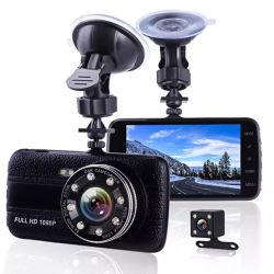 車のカメラ度広角新しく完全なHDのダッシュのカメラ1080年のP二重レンズ170 Gセンサーと4.0インチ車DVR前部および後部A504