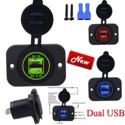 범용 5V 3.1A 듀얼 2 USB 고품질 자동 전원 오토바이 차량용 방수 전원용 충전기 소켓 어댑터 12V 24V 소켓