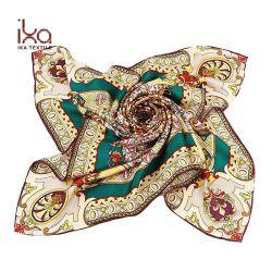 アイスランドの女性ばねおよび夏の正方形90*90cmハンのDによって転送されるあや織りの純粋な絹のスカーフ