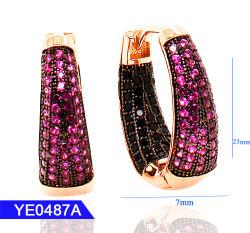 새로운 디자인 웨딩 보석 실버 또는 Brass 패션 큰 롱 여성용 후프 컬러 귀걸이