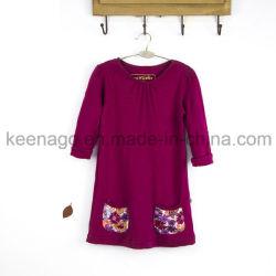 Haute qualité coton organique Fashion Princess perles à manchon long Girl Dress