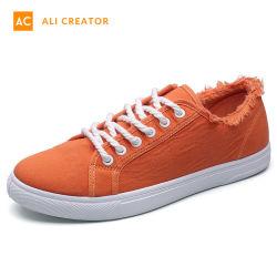 2019 neue Mann-beiläufige orange Segeltuch-Schuhe
