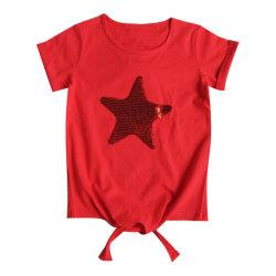 Kind-Kleidung-Sternsequins-Stickerei-Kurzschluss-Hülsen-Mädchen-T-Shirt