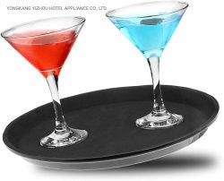 """Plástico redondo negro Antideslizante bandeja de la barra de bar sirviendo a los camareros no resbaladizas en bandeja 11"""""""