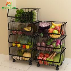 مطبخ تخزين 3 صفح أسود سلك خضر ثمرة منام يلفّ قابل للتراكم معدن سلّة