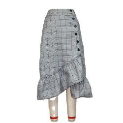 Mulheres de Viagem de algodão Botão Ruffles saia do Escritório de cintura elevada Fecho Botões casual elegante MIDI saia lápis