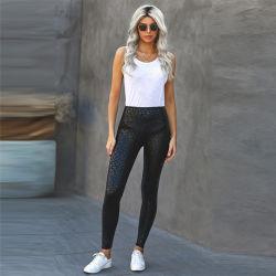 النساء أزياء بنمر أسود لامع بنسيج النمر