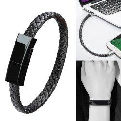 핫 셀 신형 Type-C Extension 고속 전화 충전 브레이드 가죽 팔찌 데이터 마그네틱 마이크로 USB 케이블