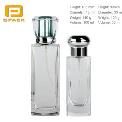 Acrylic Aluminum Closure Cover Lid Cap Art Glass Perfume Bottles Refillable AtomiserケルンBottle Manufacturerの卸し売りSquare 50ml 100ml Perfume Bottle
