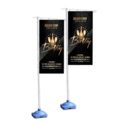Kundenspezifisches Marketing-Doppeltes versah mit Seiten, Strand-Feder-Zeichen-Fahnen-Markierungsfahne, Pole-Set bekanntmachend