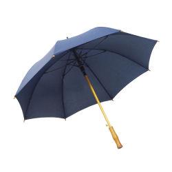 Neuer Entwurfs-hölzerner gebogener Griff-blauer gerader Regenschirm-Zoll Ihr eigenes Firmenzeichen