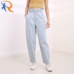 As mulheres Fashion calças de cintura elevada soltas Jeans casual de grandes dimensões