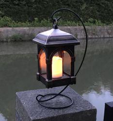 Luminária Solar Lanterna, Jardim suspenso Luzes exteriores de oscilação na Vela Flameless lâmpada LED impermeável para o relvado do pátio de mesa cor de bronze