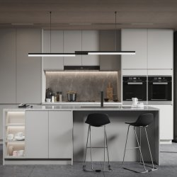 عناصر مطبخ مصنوعة من خشب لامع من خشب مبر حديث ومخصص