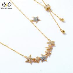 نجمة مجوهرات الموضة عقد السمك 18 كيلو الذهب مع فضية حس ذهبية المجوهرات