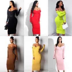 Novo vestuário mulheres moda suéter longo vestido com cores simples