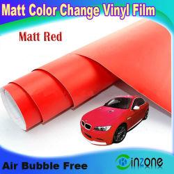 Матовый красный цвет виниловой пленки обвязки, автомобиля в мастерской наклейку с воздушные каналы