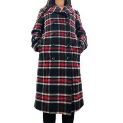 High Street femmes Plaid à manchon long occasionnel Lapel tranchée Duster Cardigan enduire manteau