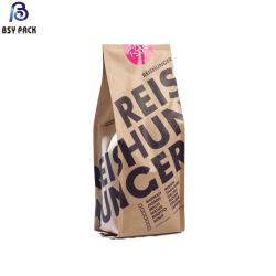Stand up biodégradable pochette sac de papier Kraft/Pbat for Food & Thé et café à l'emballage