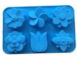 Muffa Handmade del sapone del silicone di DIY di cottura della torta della muffa 6 del fiore del tulipano domestico di figura