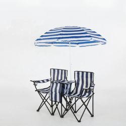 Im Freienhausgarten-Möbel-Freizeit-Strand-Stuhl-Strand-Aufenthaltsraum-Stuhl mit Regenschirm mit kühlerem Beutel