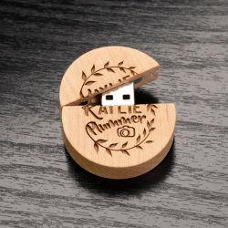 Индивидуальный логотип фотографических Studio подарок круглые деревянные флэш-памяти USB 2.0 128 МБ 256 МБ 1ГБ резных привода пера