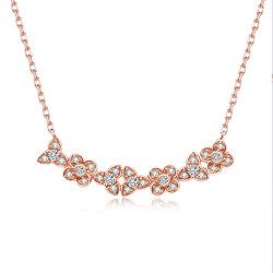 La moda de Plata de Ley 925 de la cadena de la Clavícula de forma de collar de flores
