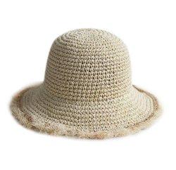 Cappello largo pieghevole Hand-Woven 100% di Sun della paglia della rafia del pescatore del bordo di estate delle donne