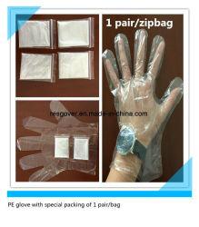 Individuele Beschikbare PE van de Kleur van de Verpakking van 1 Paar/Zak Individuele Transparante Handschoen