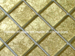Baumaterialien Luxus Golden Foil Kristall Glas Mosaik Wandfliesen
