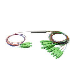Breed gebruik golflengte stalen buis Mini Type 0,9 mm 2X8 vezel Optische PLC-splitter