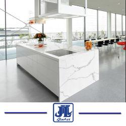 Calacattaの白い人工的な水晶平板のカウンタートップ、上のために、フロアーリング、屋内装飾