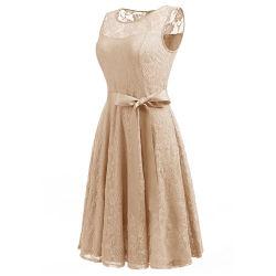 La moda elegante menta simple encaje corto vestido de verano para niñas