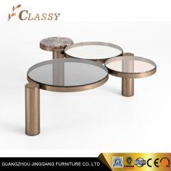 新しいデザインおよび現代様式の緩和されたガラスが付いている小さい円形の一致のコーヒー側面表