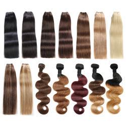 Commerce de gros russe Blonde hair extensions Virgin Remy cuticule alignés Double tirées des cheveux humains tissent la trame Bundles Extension de cheveux humains