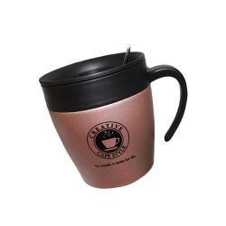 La oficina en casa viajes personalizados del logotipo de jarras de Acero Inoxidable Taza con asa y tapa
