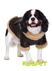 De bruine Kleren van de Winter van het Huisdier van de Hond van het Jasje van het Leer Vliegende