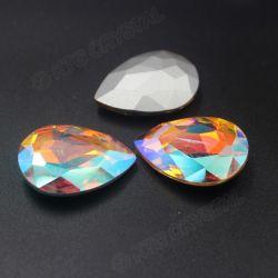 O cristal da gota perla Gemstones lapidados de 18X25mm Vitrail a cor média de cristal por atacado