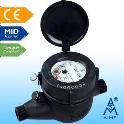 Mediados de certificados de tipo seco chorro múltiple, Medidor de agua de plástico