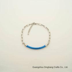 Мода простой Electroplate (0,03μ) и Электрофорез синий Spray-Painted Изогнутая трубка звено цепи браслет с застежкой Lobster-Claw для женщин украшения