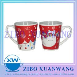 Pequeno formato de V 10oz Cerâmica Branca caneca com Dom cerveja de natal e neve imprimir a capa de cerâmica