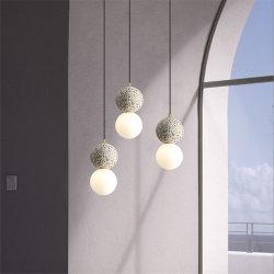 Pendentif en marbre moderne Chambre industrielle de feux de lampe de chevet Cafe Restaurant Bar LED Hanglamp luminaires suspendus Bille de verre