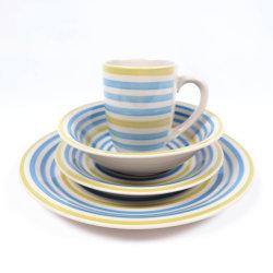 16pcs Hand-Printed dîner définit la vaisselle en porcelaine ronde pour l'hôtel