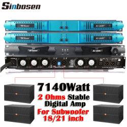 Sinbosen D2-3000 2 Ohms Stable Amplificateur Amplificateurs de puissance 7140W 2 canal amplificateur numérique de 1U professionnel pour le subwoofer