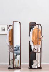 Full-Length Dormitorio espejo retrovisor suelo giratorio de almacenamiento de madera maciza multifunción