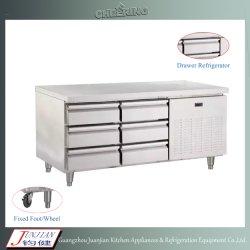 팬 냉각 스테인리스 스틸 냉장고 피자 준비 테이블 언더카운터 냉장고 서랍식 용지함 포함