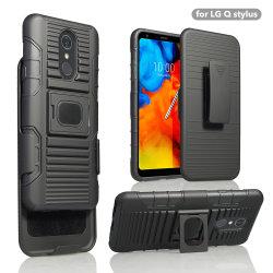 Kickstand PC de plástico duro híbrido suave de TPU antichoque soporte protector reforzado ARMOR Cubierta para LG P Lápiz