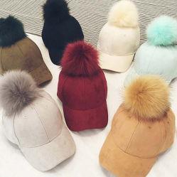 Faux Fur Pom Pom Beanie Hat Voor Dames Met Verstelbare Low Profile Solid Baseball Cap Pet Ski Cap