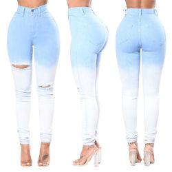 Stock Skinny calças OEM personalizados de cintura elevada Ombre Cor Denim moda jeans para Mulheres