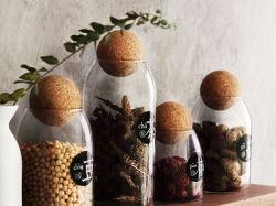 Contenitore di vetro del vaso di memoria del coperchio della sfera del sughero di uso della cucina della cristalleria del Borosilicate